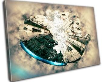 Millennium Falcon Star Wars Movie Canvas Print - Abstract Art - Wall Art - Framed Print - Ready To Hang