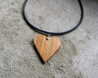 Wooden Heart Necklace, Heart Necklace Wood, Pendant heart, flat heart necklace, gift for her, love heart