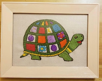 Vintage crewel turtle,  framed
