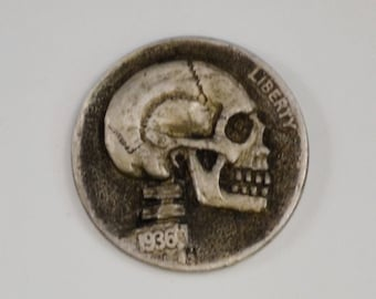 Hobo Nickel Skull Coin Skull Charm Pendant - No Hair No Feathers, Buffalo Nickel Engraved Coin Skull Day of the Dead Coin Art Coin Jewelry