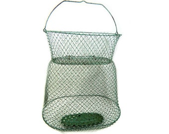 Vintage French Mallinox Green Collapsible Wire Fish Crab Basket