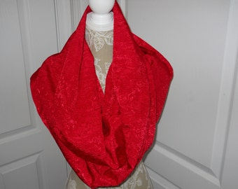 Scarves, Red Infinity Scarf, Formal After Five Infinity Scarf, Circle/Loop Scarf, Elegant Red Tapestry Fashion Scarf, Ladieswear/Clothes