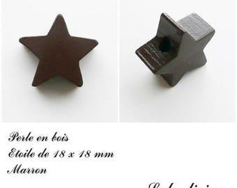 18 x 18 mm wooden bead, bead flat Star: Brown