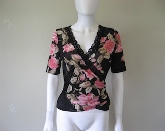 Rose Floral Print Top - medium