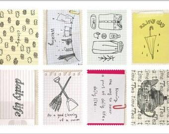 Retro Stamp Sticker Set - Ver. 3 - Vol. 1 Daily - 2 Sheets - 16 Pcs no discount