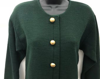 Vintage 80s 1980s Button Front Midi Dress KATHRYN CONOVER Sz XS Ribbed Fabric Modest Long Sleeve Dark Evergreen Green