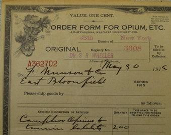 1916 Opium Order Form Certificate License, vintage, antique (E2)