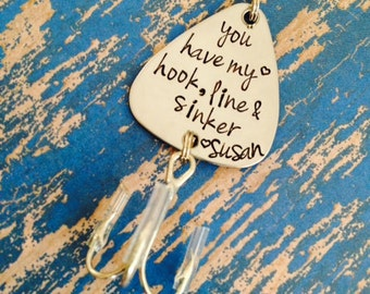 You have my heart hook, line and sinker Fishing Lure Hand Stamped - Boyfriend Gift - Wedding - Engagement - Anniversary - Engraved - Gift