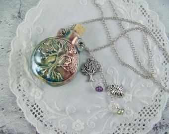 Tree of Life Bottle Necklace, Raku Flask, Vessel Necklace, Essence Oil Bottle, Perfume Bottle Necklace, Bottle Necklace, Ash Urn, Flask