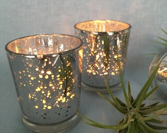 Silver mercury glass votive candle holders - set of 12