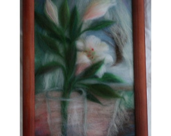 Lilies on the table - beautiful painting created from wool fiber