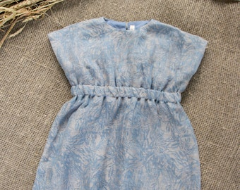 Nieuw!!! Baby meisje jurk / linnen peuter jurkje / zomer jurk met linnen / 401SS16