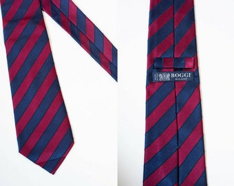 80s Boggi Milano Striped Tie / Silk / Navy Blue / Burgundy / Classic Width / 1980s / Italian Designer Tie / Necktie