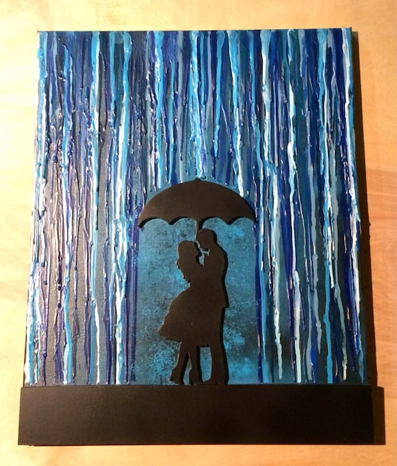 Couple Under Umbrella / Melted Crayon Art