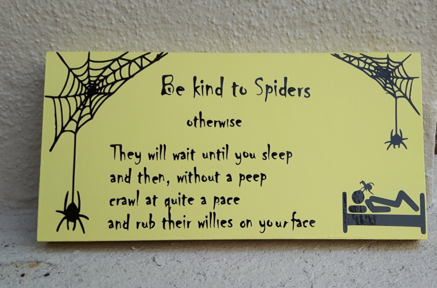 Spiders Poem plaque be kind to spiders funny sign spider