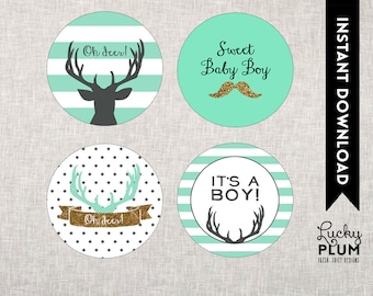 Deer Baby Shower Cupcake Topper / Woodland Forest Animal Cupcake Topper / Mustache Gold Mint Stripes / DIY Printable /  *Digital file*