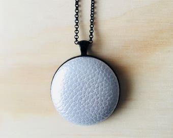 38mm Silver Shimmer Faux Leather Fabric Button Pendant Necklace • 76cm Black Rolo Chain with Lobster Clasp • Nickel Free • Leatherette
