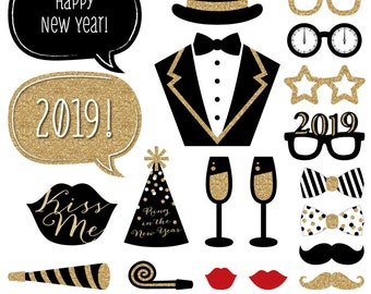 20 pc. Happy New Years Party - 2019 Gold Photo Booth Props - Holiday Party Kit with Mustache, Hat, Bow Tie, Glasses and Custom Talk Bubble