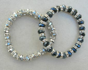 2 Blingy Stretch Bracelets, Rhinestones & Faceted Glass,Easy On and Off, by SandraDesigns
