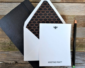 Honeycomb & Bee Personalized Stationery Set