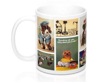 Vintage Puppy Dog Art Postcards Novelty Coffee Mug in 11 or 15 oz.