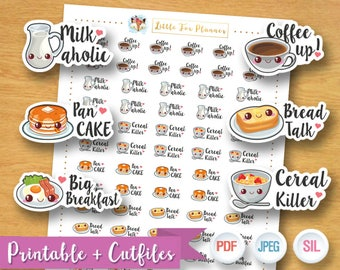 SALE 50% OFF Breakfast Stickers, Milk Stickers, Pancake Stickers, Bread Sticker Cereal Stickers Printable Planner Stickers, Instant Download