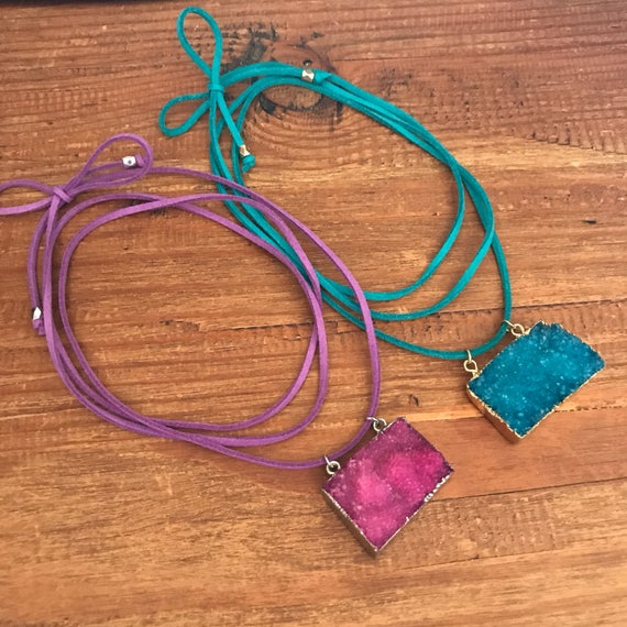 Druzy Choker Necklace Mothers Day Gift Wrap Leather Vegan Teal Blue Pink Purple Stone Statement Festival Silver Gold Geode Quartz Pendant