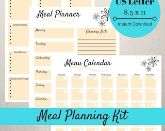 Meal Planner and Grocery List Printable, Shopping List, Menu Planner, Weekly Meal Planner, Monthly Meal Planner, Grocery List Simple Yellow