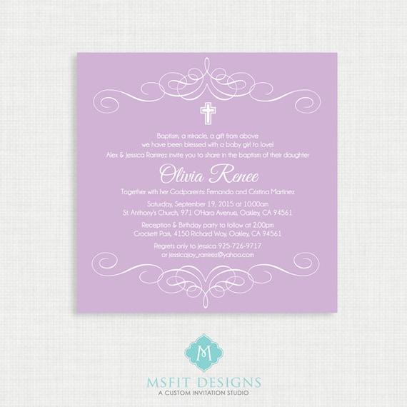 Printable Baptism Invitation- Elegant Flourish Baptism Invitations - Christening Invitation, Purple, DIY printable invitation