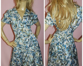 50s Blue FLORAL MID CENTURY Tea dress 14 M 1950s Vintage Pin up