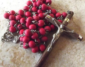 Wooden Catholic Rosary in Red