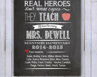 DIGITAL FILE Teacher's Printable-Personalized Class Names, Teacher Appreciation, Class Gift, End of year, Teacher Gift, Personalized, 8x10