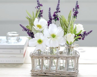 Artificial Wild Rose & Lavender Flower Arrangement With Vase | Silk Roses And Lavender Blooms | Faux Flower Bottles In Country Wicker Basket