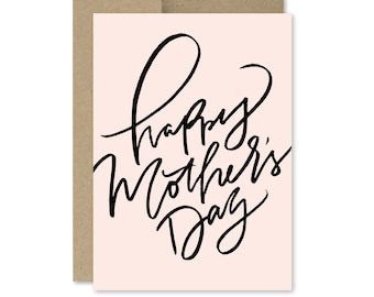 Printable Mother's Day Card - Instant Download - Happy Mother's Day - Simple - Chic - Brush Lettered