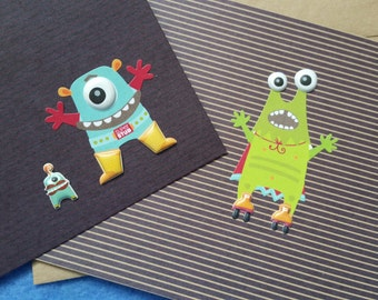 Two Cute Monster Blank Greeting Cards - recycled kraft paper with 3D stickers