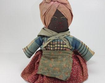 Antique Black Americana Mammy Aunt Jemima Cloth Doll Primitive Folk Art Collectible Black Memorabilia Handcrafted