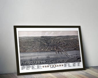 Cleveland Art Print - 1877 Bird's Eye View - 24x36in.