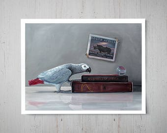 Safari - African Grey Parrot Fine Art Oil Painting Archival Giclee Print Decor by Artist Lauren Pretorius