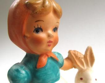 Vintage Ceramic Figurine, Girl, Bunny Rabbit, Japan, Country Girl, Hand Painted, Shabby Chic, Mid Century, Vintage Decor