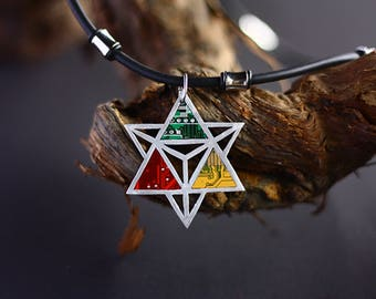 Star pendant, Sacred Geometry, with 3 Verschiedenfarbenen computer boards