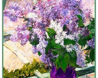 SPRING SALE DIGITAL Download Impressionist Mary Cassatt's Lilac Flowers in the Window Counted Cross Stitch Chart