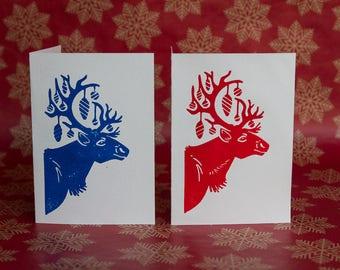 Handprinted linocut Christmas Card - Reindeer - in blue or red