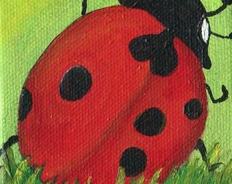 Lady bug painting, original mini Canvas with Easel, ladybug art 3 x 3 SharonFosterArtSharonFosterArt