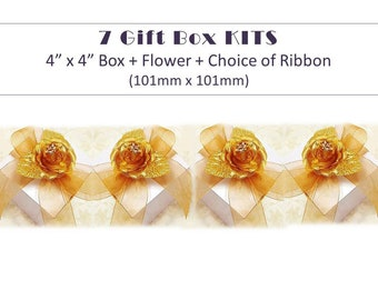 7 Gift Box KITS - Favor Box with Ribbon + Flower Topper Gift Wrap Kits Wedding Favor Boxes with Ribbon Baby Shower Favor Box Kit