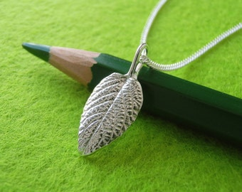 Lantana Leaf Pendant Necklace - Pure Silver Real Leaf, Botanical Jewelry