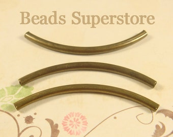 50 mm x 3 mm Antique Brass Curved Tube Spacer - Nickel Free, Lead Free and Cadmium Free - 10 pcs
