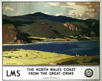 Vintage LMS Great Orme Llandudno Railway Poster A3/A2/A1 Print
