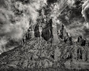 Castle Rock In Black And White,Arizona Landscape,Sedona Landscape,Sedona,Arizona,Black and White,Sedona Print,Photography,Canvas Wall Art