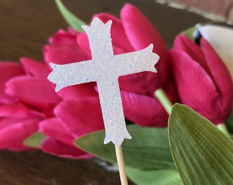 12 Ivory Cross Cupcake Toppers Cake Decorations Wedding First Holy Communion Baptism Confirmation