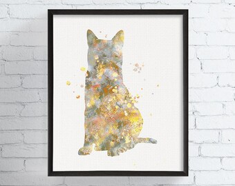Egyptian Mau Art Print, Watercolor Egyptian Mau, Watercolor Cat Print, Cat Painting, Cat Wall Art, Cat Home Decor, Cat Lover Gift,, Framed